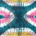 ショッピングソファーカバー 〔195cm*100cm〕ガネーシャ&ヒンドゥー神様のタイダイサイケデリック布 青緑×ピンク×黄色系 / アジア インド ファブリック エスニック