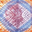 ショッピングソファーカバー 〔195cm*100cm〕ガネーシャ&ヒンドゥー神様のタイダイサイケデリック布 薄青紫×オレンジ×薄小豆系 / アジア インド ファブリック エスニック