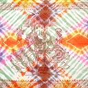 ショッピングソファーカバー 〔195cm*100cm〕ガネーシャ&ヒンドゥー神様のタイダイサイケデリック布 緑×オレンジ×紫×ピンク系 / アジア インド ファブリック エスニック