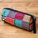 モン族の古布を使った円柱ポーチ バッグ ペンケース 筆箱 小物入れ インド アジア 神様 エスニック