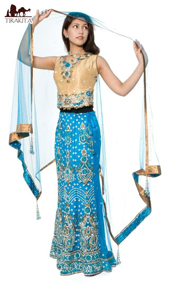 【1点物】インドのゴージャスドレス-スカイブルー / ウェディング 送料無料 あす楽
