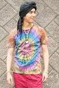 タイダイクルーネックTシャツ 半袖 エスニック アジアン 女性 トップス 衣料 服 ファッション インド