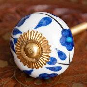 アジアンデザインの取っ手 陶器のプルノブ(ドアノブ)〔4cm〕 / DIY インテリア アンティーク調 インド エスニック 雑貨