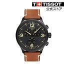 ティソ 公式 メンズ 腕時計 TISSOT 店舗限定 クロノXL クオーツ ブラック文字盤 レザー ...