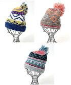 【60%OFF】キカ柄ニットキャップ zfwncb7013 /チチカカ公式 TITICACA カラフル ポンポン付き 柄 模様 ニット帽