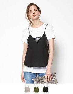 Vネックレースキャミソール&ゆるTシャツセット