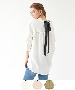 バックリボン抜き衿オーバーサイズシャツ