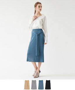 ウエストリボンニットタイトスカート