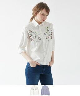 刺繍ビッグシャツ