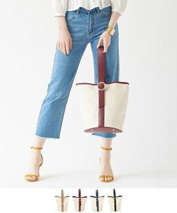 ワンハンドルバックル付きキャンバスバッグ