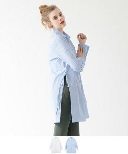 サイドリボンロングシャツ