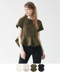 異素材切替フレアーヘムTシャツ