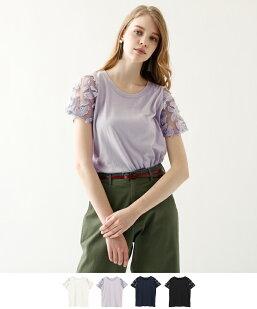 刺繍レース切り替えTシャツ