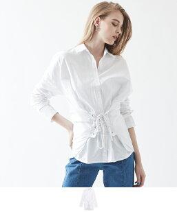コルセット付きコットンシャツ