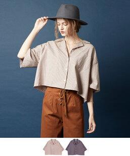 ピンチェックワイドシャツ/ブラウス