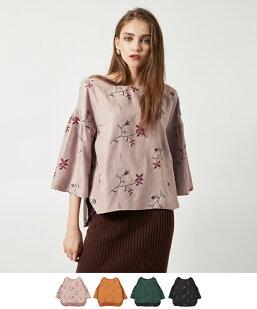 刺繍花柄フェイクスエードプルオーバー