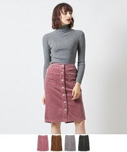フロント釦コーデュロイタイトスカート
