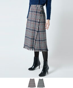 チェックツイードラップ風スカート