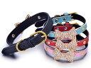 可愛い ペット用首輪 猫 小型犬 調整可能 革製 リボン形ラインストーン飾り#Sサイズ/赤【S.Pack】