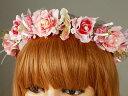 ローズピンク花冠/ヘッドドレス/ウェディング【02P01Jun14】【R.Mail】