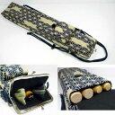 手作り がま口型 篠笛ケース お囃子 和太鼓 サイドポケットには鉢や扇子も入ります。