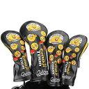 Guiote ゴルフヘッドカバー Golf head covers クラブヘッドカバー ウッドカバー ドライバー 新デザイン 交換可能な番号タグ付き(#2.#3.#4.#5.X) 4個セット Emoji -black