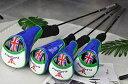 高級pu革 エナメル製 ドライバー/ウッド用 FW ヘッドカバー 4点セット イギリス国旗模様 防水仕様 青×緑