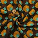 【生地・布】ワイン/ブラウン ポリエステル ストレッチハニカムプリント イタリー製 広幅 ワンピース スカート ジャケット 婦人服 子供..