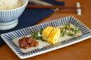 【砥部焼 梅山窯】とくさ柄の布目角皿(6,7寸)