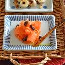 【砥部焼 梅山窯】とくさ柄の布目角皿(4.6寸)