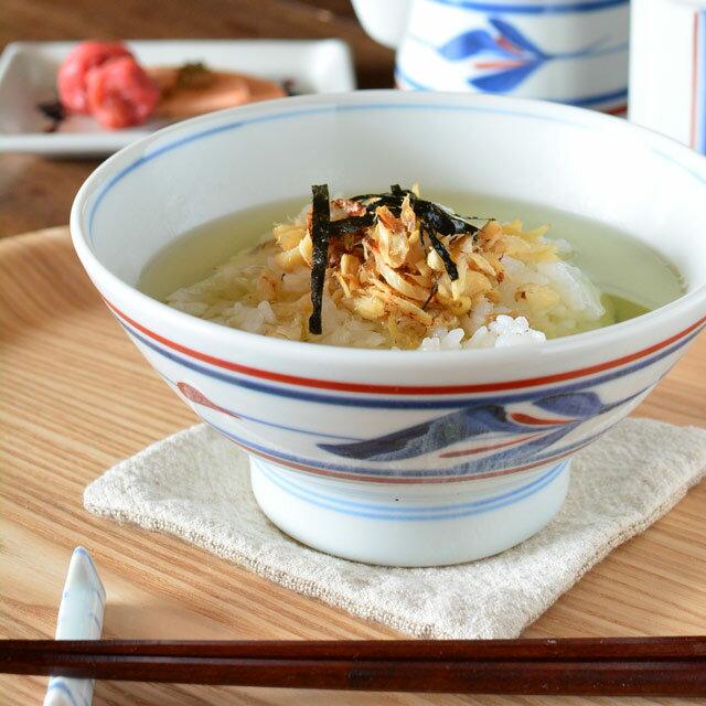 【砥部焼 梅山窯】みつ葉の茶漬け碗