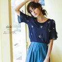 【aiole アイオル】tocco closet(トッコクローゼット) Collection 愛甲千笑美さんはネイビー着用《Embroidery Fair》