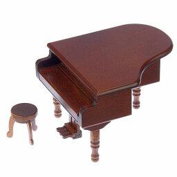 【オルゴール】木製ミニアンティークオルゴール グランドピアノ(曲:カノン)