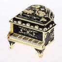 【オルゴール】【日本製】アンチモニーピアノ宝石箱オルゴール(ブラック)」【曲目 : 虹の彼方に】