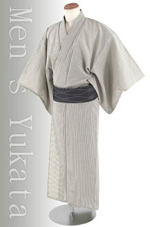 """"" Shiji was woven man cotton linen splashed yukata 3 pieces 'beige stripes"