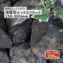 【送料無料】溶岩石 ミックスブラック 150-300mm 200kg (10kg以上×20箱)