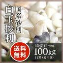 玉砂利:白玉砂利 3分(7-12mm)100kg(20kg×5袋)【送料無料】