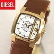 ★送料無料 DIESEL ディーゼル レディース 腕時計時計 DZ5296 カジュアル レザー 茶色 金 ブラウン ゴールド アナログ クリフハンガー 海外モデル