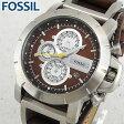 ★送料無料 FOSSIL フォッシル JR1157 海外モデル メンズ 腕時計 ウォッチ 革バンド レザー クオーツ アナログ 茶 ブラウン 銀 シルバー