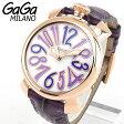 ★送料無料 GAGA MILANO ガガミラノ MANUALE 40MM マヌアーレ 40mm 5021-4 海外モデル レディース 腕時計 ウォッチ 革バンド レザー 紫 パープル 金 ピンクゴールド