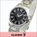 ★送料無料 プレイボーイ・バニー PLAYBOY BUNNY PB002SBK レディース 腕時計 ウォッチ クオーツ アナログ 黒 ブラック 銀 シルバー