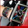 ★送料無料 Alessandra Olla アレッサンドラオーラ アレサンドラオーラ 存在感のあるマルチカラー 黒 ブラック レザー 見やすい 大きいサイズ 男女兼用 レディース メンズ 腕時計時計 AO-4500