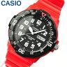 【3ヶ月保証】【専用BOXなし】CASIO チープカシオ チプカシ スタンダード MRW-200HC-4B 海外モデル メンズ 腕時計 時計 クオーツ アナログ レッド ブラック 赤 黒秋 コーデ 誕生日 ギフト