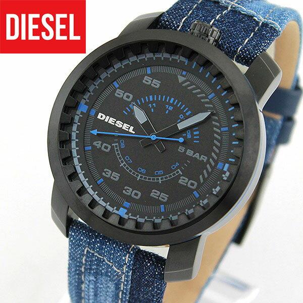 ★送料無料 DIESEL ディーゼル RIG リグ DZ1748 海外モデル メンズ 腕時計 ウォッチ クオーツ アナログ 黒 ブラック 青 ブルー デニム レザー バンド