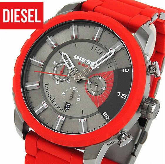 ★送料無料 DIESEL ディーゼル DZ4384 海外モデル メンズ 腕時計 watch ウォッチ ウレタン バンド ベルト クオーツ アナログ 赤 レッド グレークリスマス 誕生日 ギフト 楽天カード分割