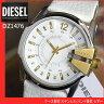 ★送料無料【プレミア】ディーゼル 時計 アナログ DIESEL ディーゼル カジュアル レザー 白 DZ1476メンズ腕時計 watch高級感のあるホワイト×ゴールド海外モデル
