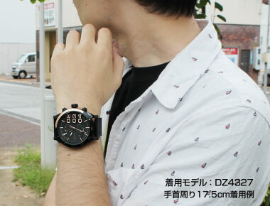 DIESELディーゼルDZ4331海外モデルメンズ男性用腕時計ウォッチ革バンドレザークオーツアナログ黒ブラック