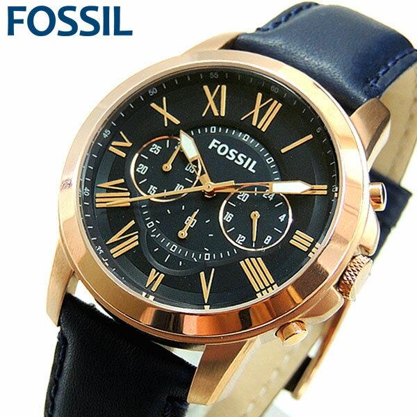 【送料無料】 FOSSIL フォッシル GRANT グラント 腕時計 メンズ レザー アナログ クロノグラフ 24時間計 CLASSIC クラシック ブルー 青 紺 ピンクゴールド 金 FS4835 海外モデル 誕生日プレゼント 男性 ギフト