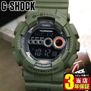 CASIO カシオ G-SHOCK Gショック ジーショック gshock GD-100MS-3海外モデル カーキ 腕時計 メンズ 時計 多機能 防水 カジュアル デジタル ミリタリー カーキ 商品到着後レビューを書いて3年保証 誕生日プレゼント 男性 ギフト