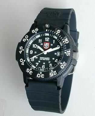 ルミノックスLUMINOX3001ネイビーシールズ黒ウレタンバンド・文字板T25表記入りミリタリーウォッチ腕時計
